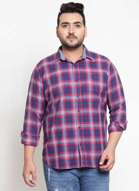 Men Red & Blue  Checked Casual Shirt
