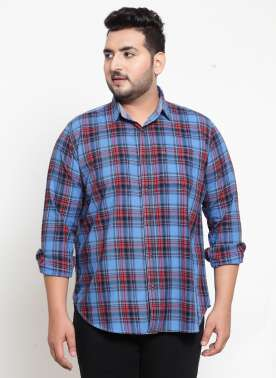 Men Blue & Pink Regular Fit Checked Casual Shirt