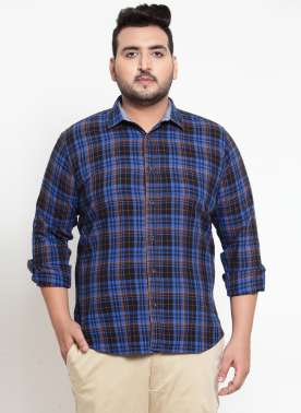Men Blue Regular Fit Checked Casual Shirt