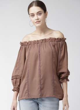 Women Brown Solid Bardot Top
