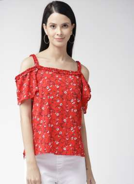 Women Red Printed Top