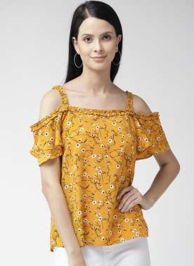 Women Mustard Yellow Printed Bardot Top