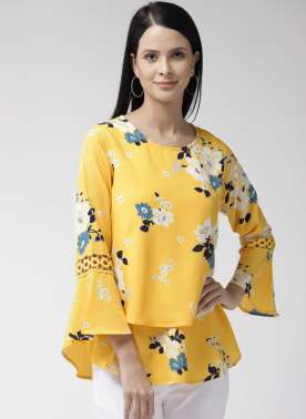 Women Yellow & White Floral Print Layered A-Line Top