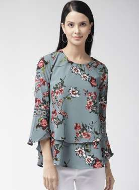 Women Grey Printed A-Line Top