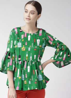 Women Green Printed A-Line Top