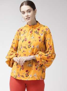 Women Yellow & Pink Printed Top