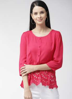 Women Fuchsia Solid A-Line Top with Cut Out Detail