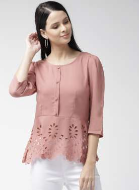 Women Dusty Pink Solid A-Line Top with Cut Out Detail