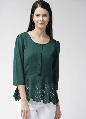 Women Green Solid A-Line Top with Cut Out Detail