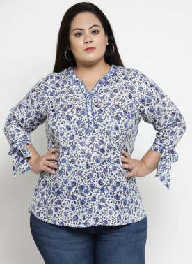 Women Navy Blue Printed Layered A-Line Top