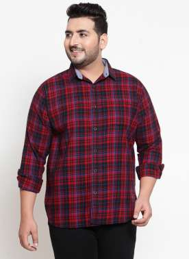Men Red Checked Casual Shirt