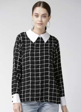 Women Black & White Checked Top