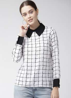 Women White & Black Checked Top