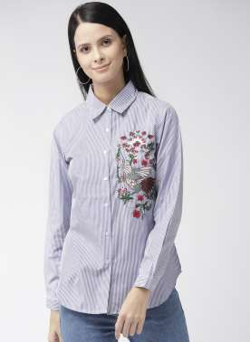 Women Blue & White Striped Casual Shirt