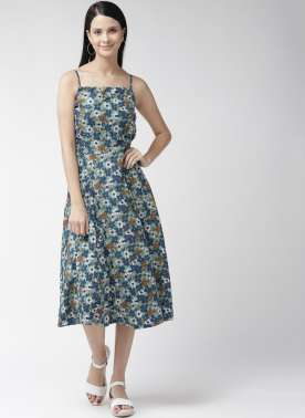 Women Sea Green & Blue Printed Fit & Flare Dress