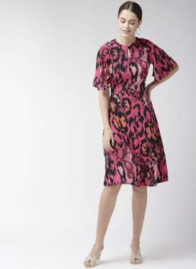 Women Pink & Black Printed A-Line Dress