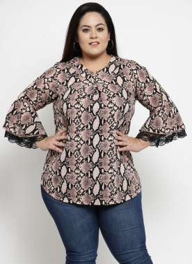 Women Beige Printed Shirt Style Top