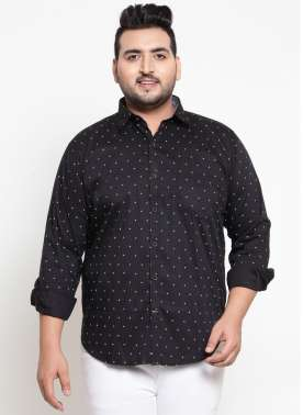 Men Black Regular Fit Printed Casual Shirt