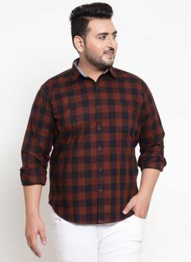 Orange & Black Regular Fit Checked Casual Shirt