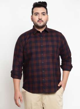 Brown & Black Regular Fit Checked Casual Shirt