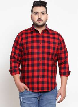Red & Black Regular Fit Checked Casual Shirt