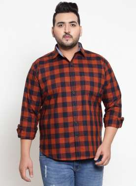 Orange & Blue Regular Fit Checked Casual Shirt