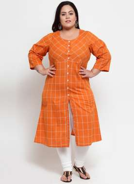 Orange Checked A-Line Kurta