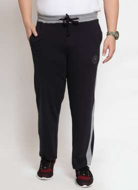 Black Solid Straight-Fit Trackpants