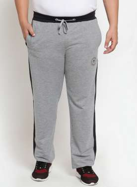 Grey Melange Solid Straight-Fit Trackpants