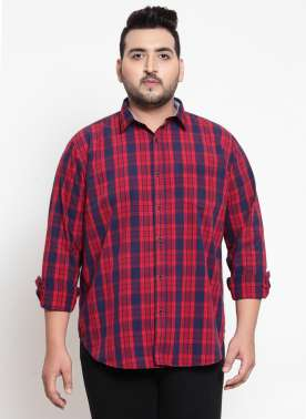 Red & Blue Regular Fit Checked Casual Shirt