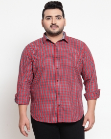 Red Regular Fit Checked Casual Shirt