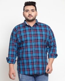 Turquoise Blue Regular Fit Checked Casual Shirt