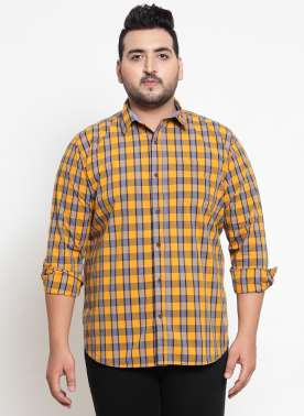 Yellow & Grey Regular Fit Checked Casual Shirt