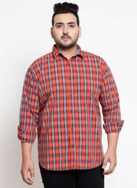 Coral Orange & Blue Regular Fit Checked Casual Shirt