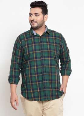 Green Regular Fit Checked Casual Shirt