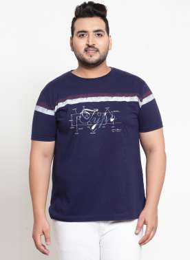 Navy Blue Printed Round Neck T-shirt