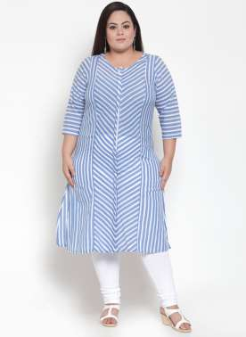 Navy Blue Checked A-Line Kurta