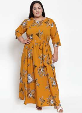Mustard Printed Maxi Dress