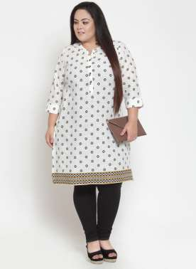 White & Gold-Toned Printed Kurti