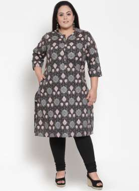 Grey Printed Straight Kurti
