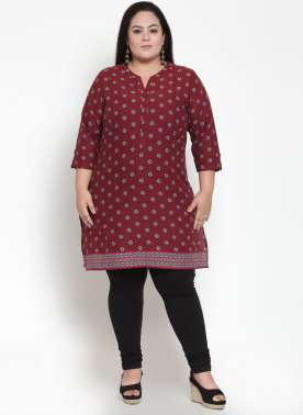 Red Solid Straight Kurti