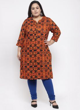 Women Rust Brown A-Line Kurti