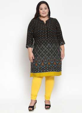 Black & Golden Printed Kurti
