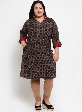 Blue & Red Printed Straight Kurta