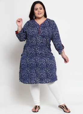Navy Blue & White Printed Straight Kurta