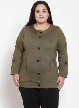 Olive Green Solid Jacket