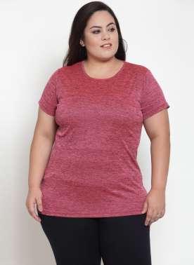 Magenta Solid Round Neck T-shirt