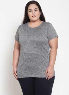 Grey Solid Round Neck T-shirt