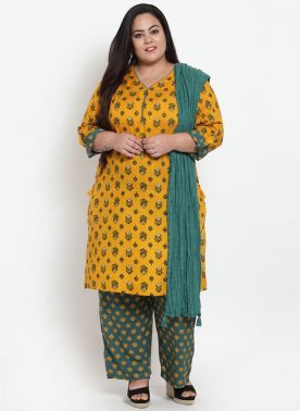 Yellow & -Green Coloured Printed Kurta with Palazzos & Dupatta