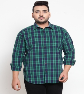 plusS Men Green Regular Fit Checked Casual Shirt